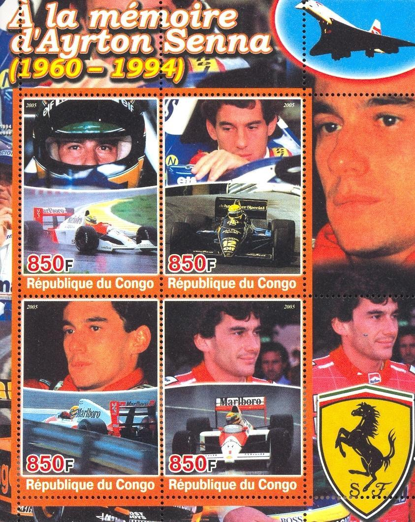 Stamps with Concorde, Ferrari, Senna (Ayrton), Racing Cars from Congo (non official) (image for product #032680)