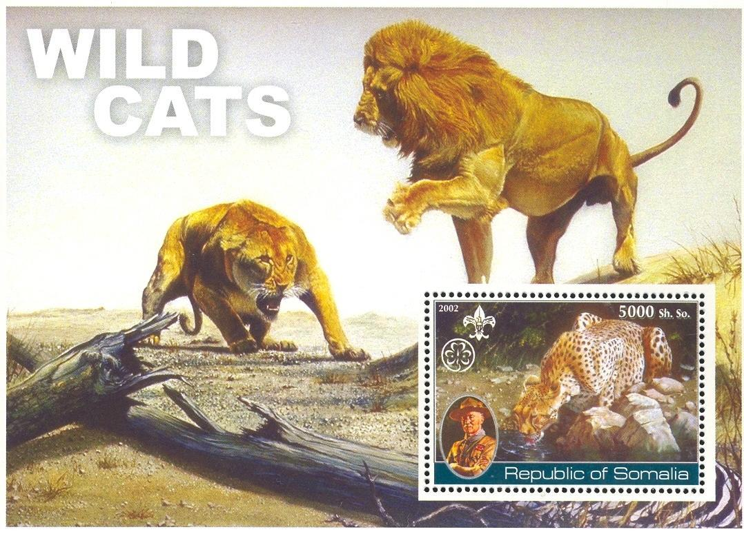 Stamps with Scouting, Panther, Lion, Baden Powell from Somalia (non official) (image for product #032685)