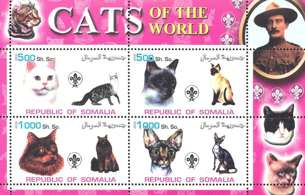 Stamps with Baden Powell, Cats, Scouting from Somalia (non official) (image for product #032686)