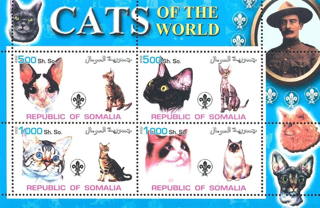 Stamps with Scouting, Cats, Baden Powell from Somalia (non official) (image for product #032687)