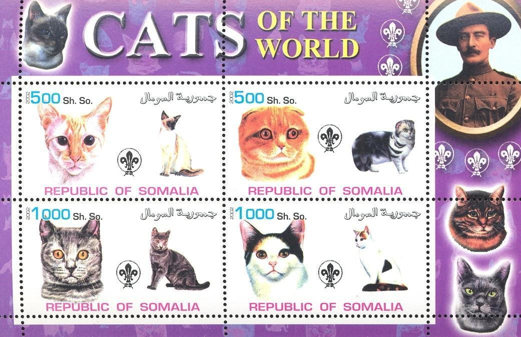 Stamps with Scouting, Cats, Baden Powell from Somalia (non official) (image for product #032690)