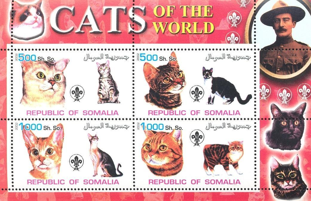 Stamps with Scouting, Cats, Baden Powell from Somalia (non official) (image for product #032691)