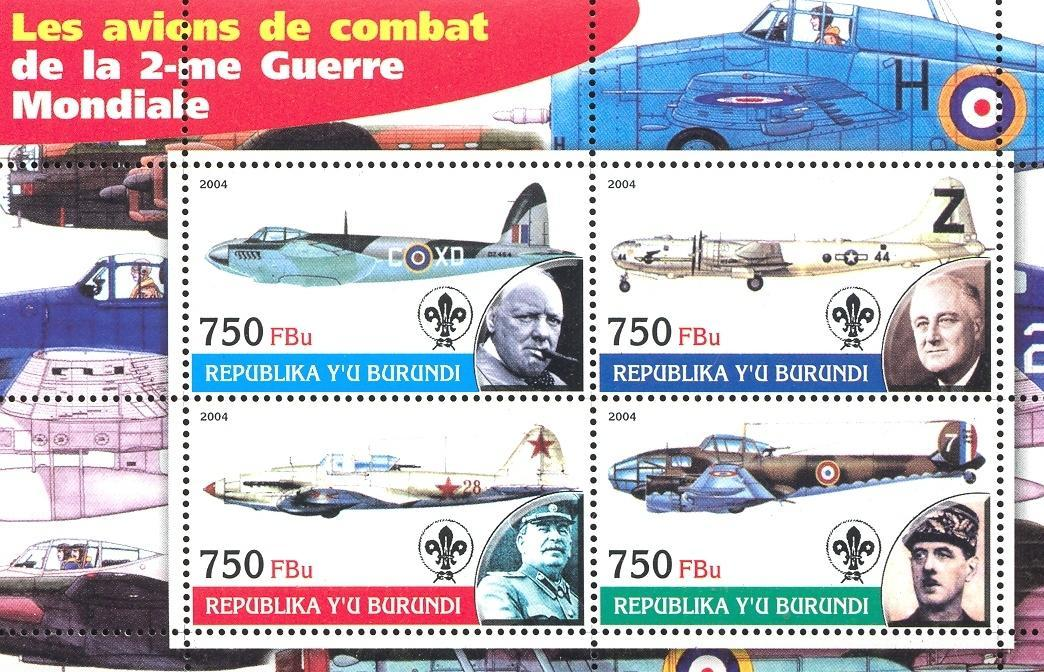 Stamps with Scouting, Aircraft, Churchill, Roosevelt (Franklin), Stalin from Burundi (non official) (image for product #032692)