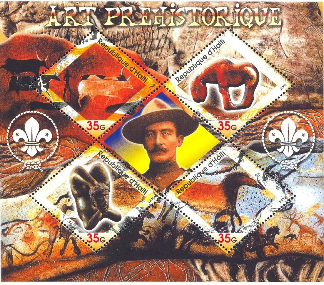 Stamps with Scouting, Art, Prehistory, Cave Paintings, Baden Powell from Haiti (non official) (image for product #032697)