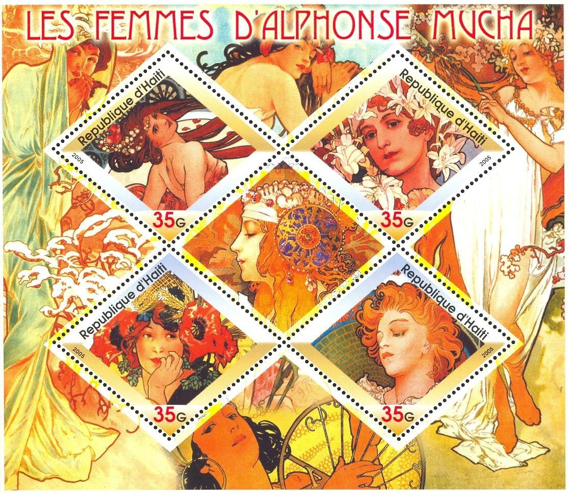 Stamps with Art, Mucha (Alfons) from Haiti (non official) (image for product #032698)