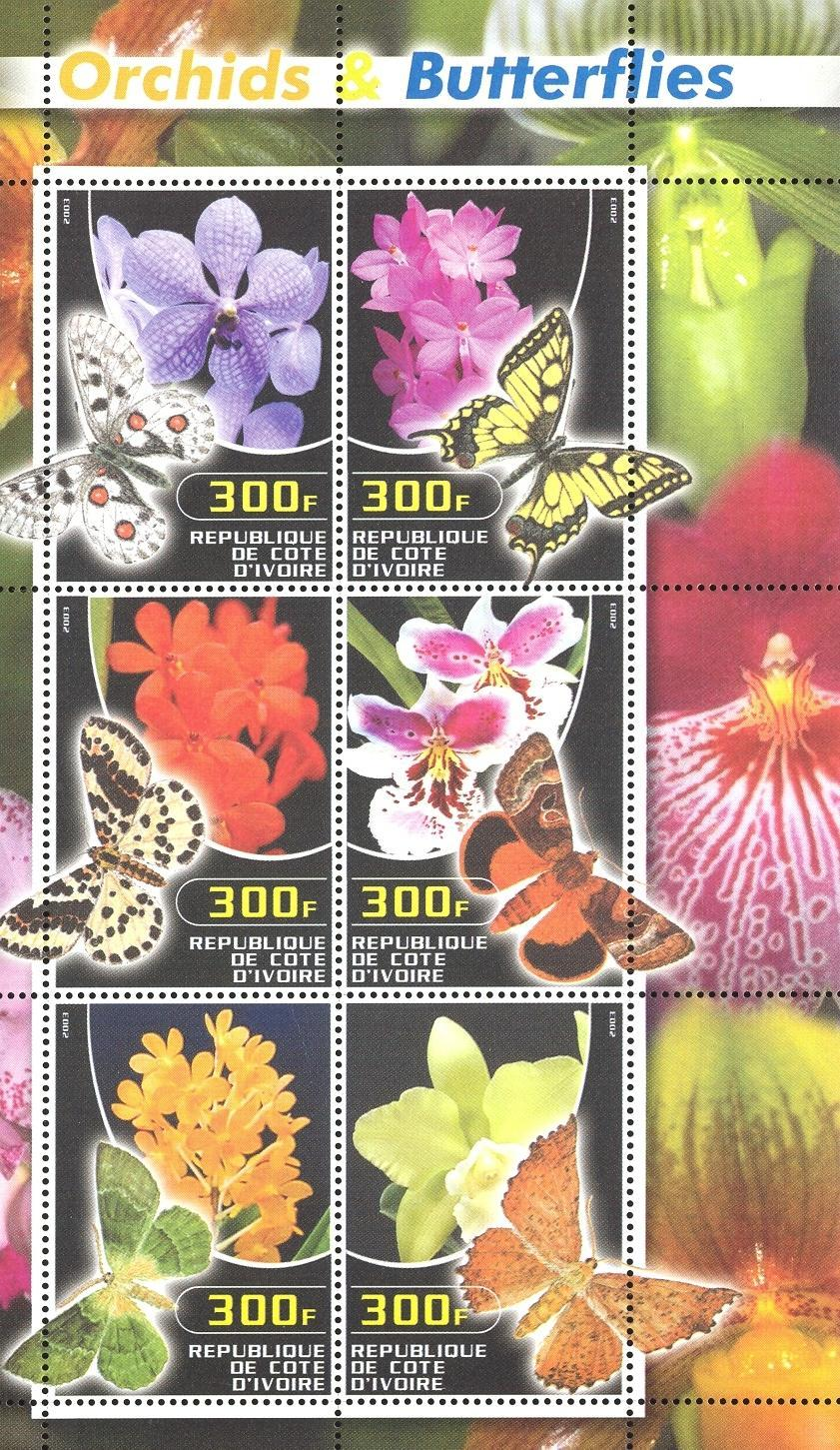 Stamps with Butterflies, Orchids from Cote d'Ivoire (non official) (image for product #032705)