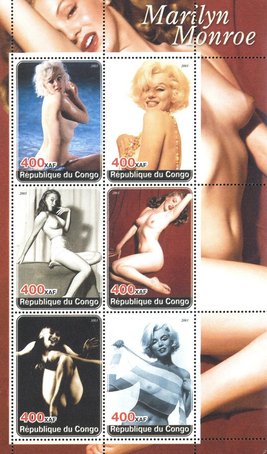 Stamps with Marilyn Monroe, Nude from Congo (non official) (image for product #032708)