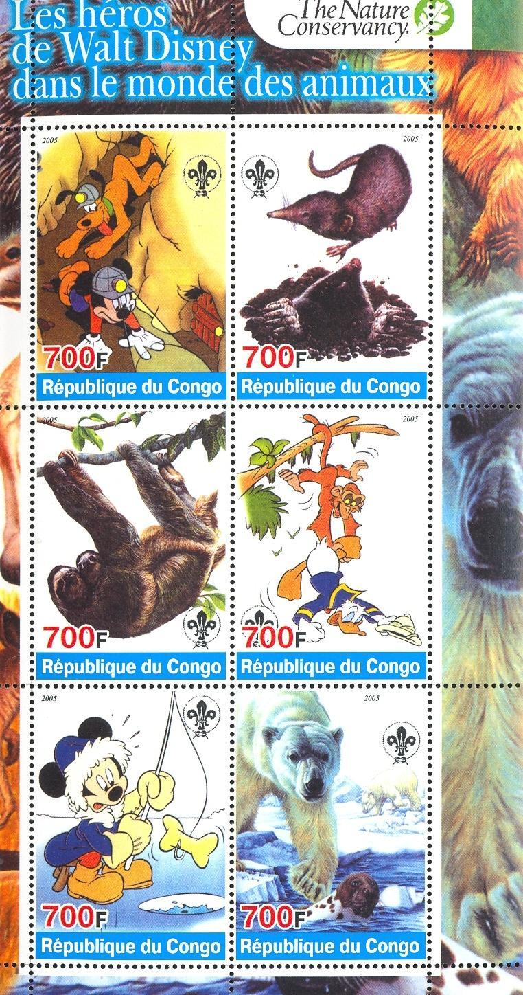 Stamps with Scouting, Icebear, Cartoon, Sloth from Congo (non official) (image for product #032710)