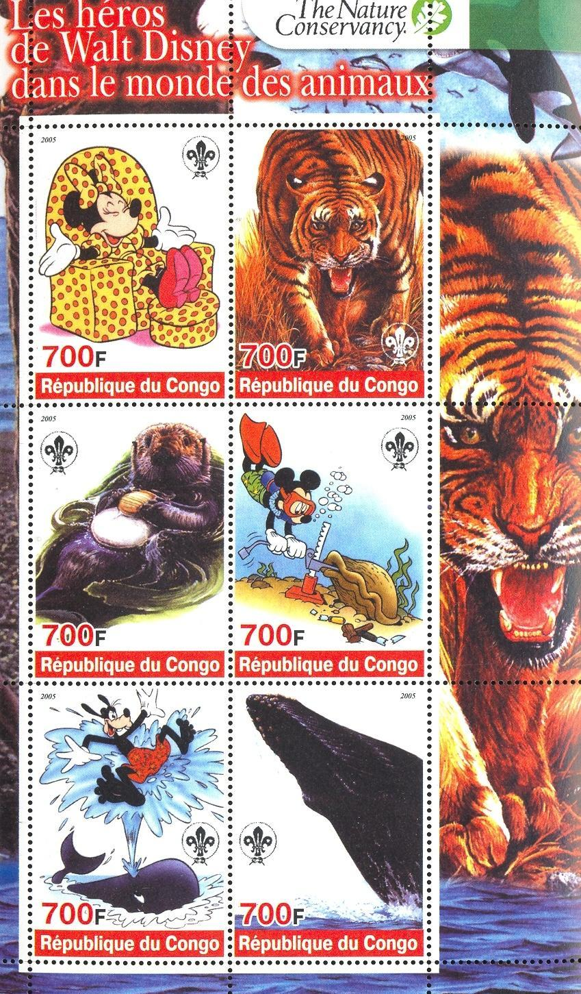 Stamps with Scouting, Tiger, Shells, Whale, Cartoon, Diving, Beaver from Congo (non official) (image for product #032711)