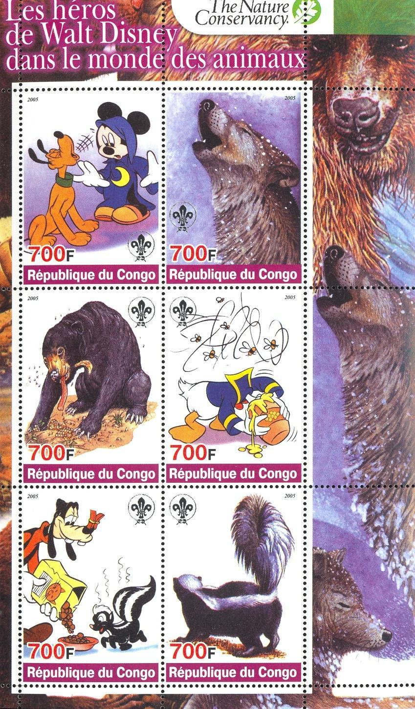 Stamps with Scouting, Bear, Wolf, Skunk from Congo (non official) (image for product #032712)
