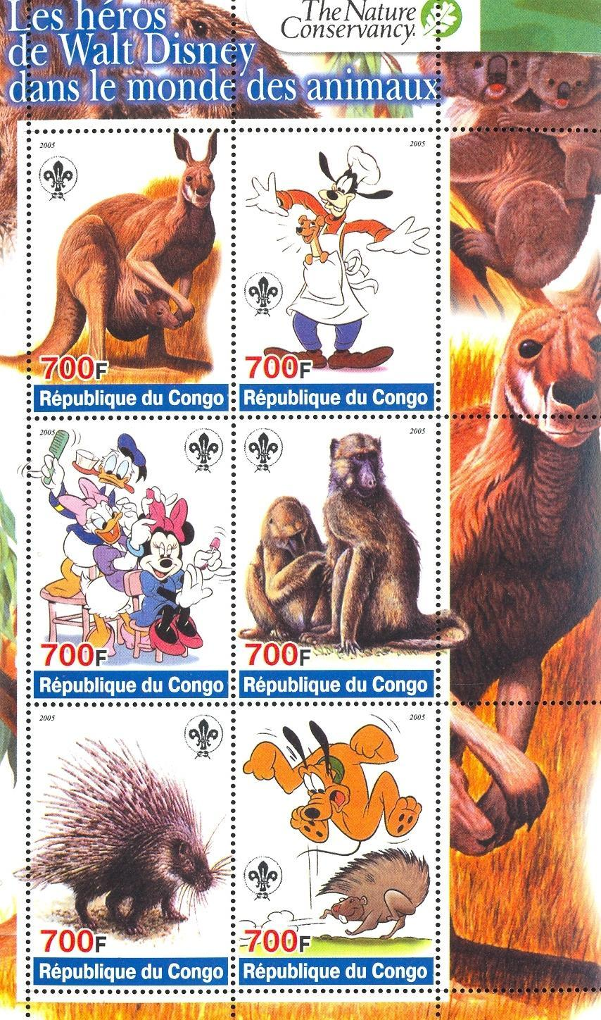 Stamps with Scouting, Monkey, Cartoon, Koala, Kangaroo, Hedgehog, Porcupine from Congo (non official) (image for product #032713)