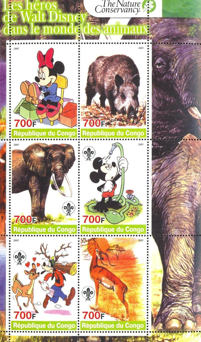 Stamps with Scouting, Elephants, Cartoon, Hog, Antilope from Congo (non official) (image for product #032714)