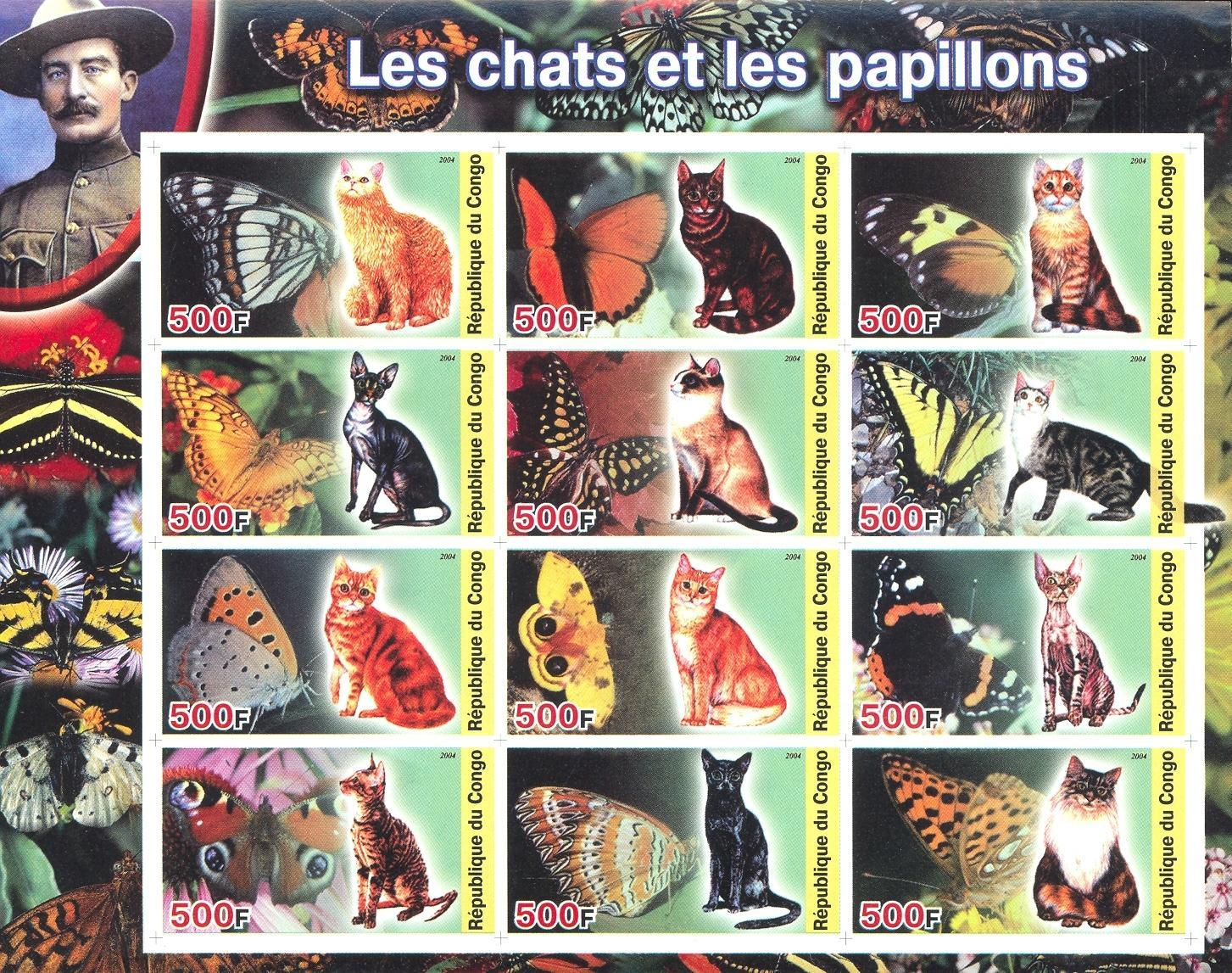 Stamps with Scouting, Butterflies, Cats, Baden Powell from Congo (non official) (image for product #032715)