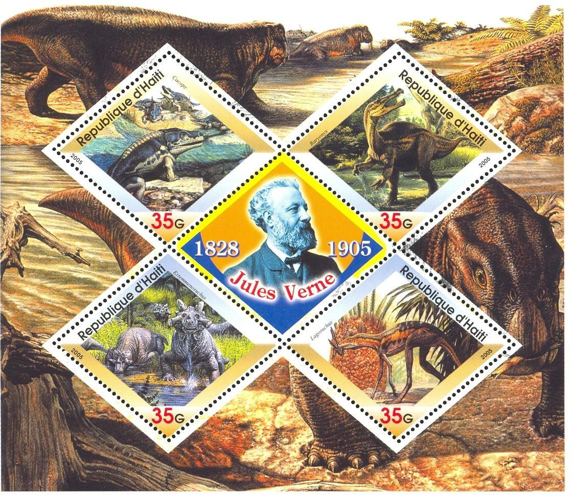 Stamps with Dinosaurs, Jules Verne from Haiti (non official) (image for product #032722)