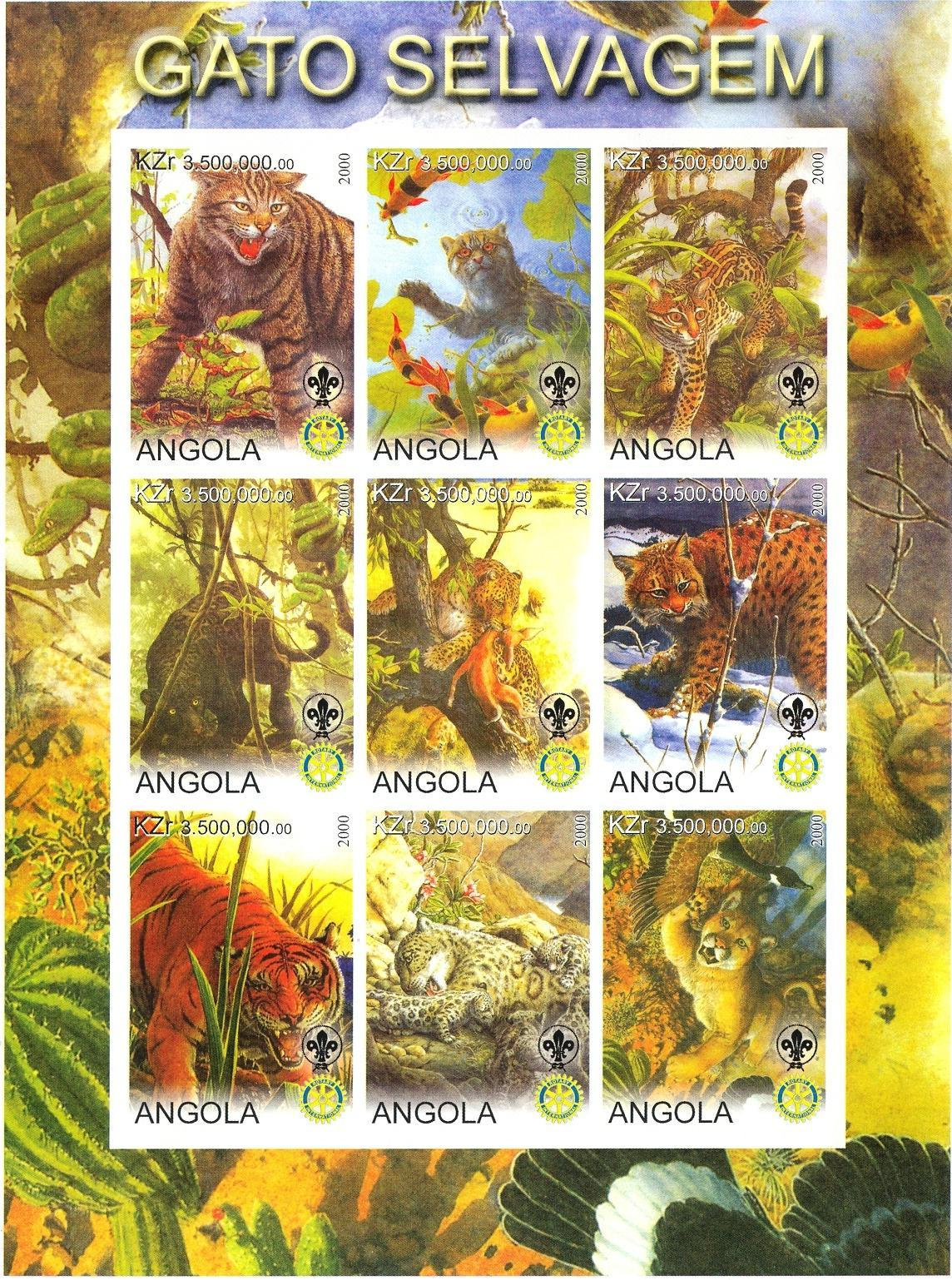 Stamps with Scouting, Cats, Tiger, Cats Wild, Rotary from Angola (non official) (image for product #032742)