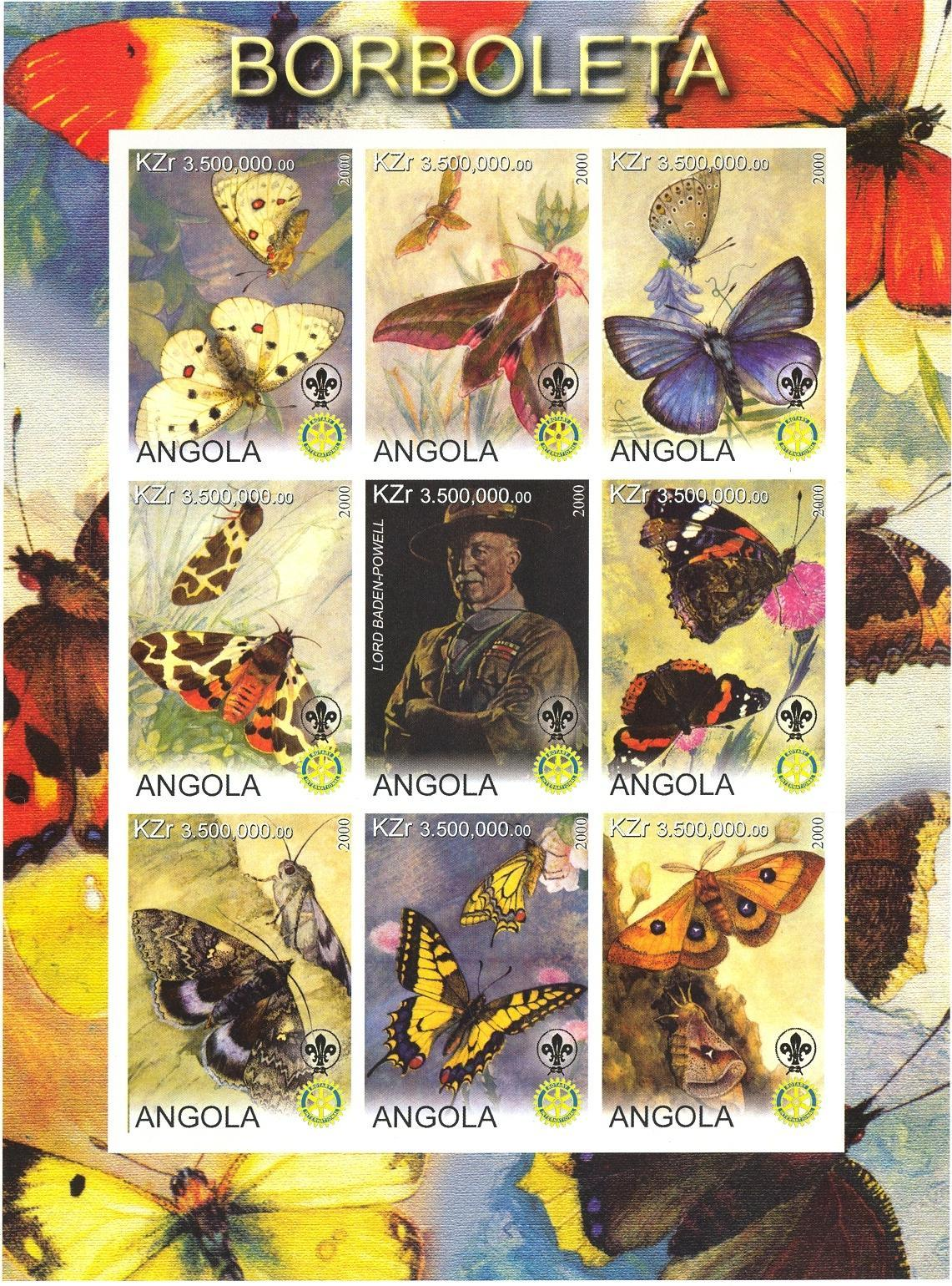 Stamps with Scouting, Butterflies, Rotary, Baden Powell from Angola (non official) (image for product #032745)