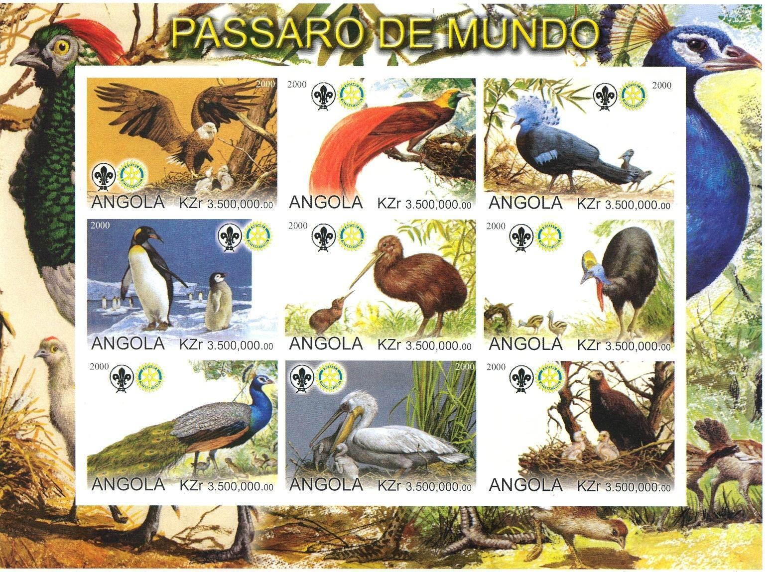 Stamps with Bird, Scouting, Pelican, Rotary, Peacock from Angola (non official) (image for product #032746)