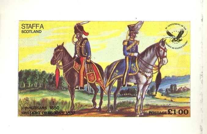 Stamps with Bird, Horse, Uniform from Staffa (non official) (image for product #032847)
