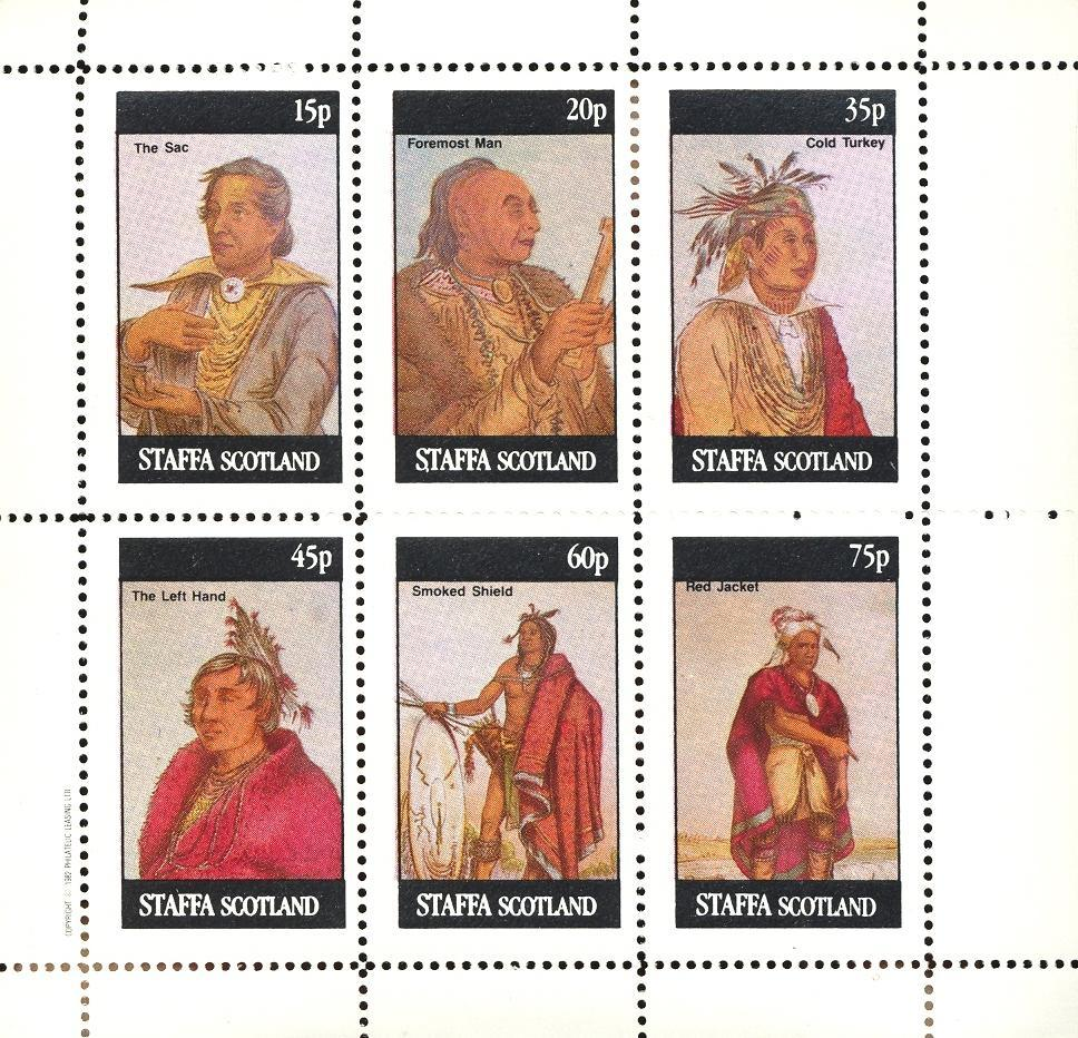 Stamps with Indian from Staffa (non official) (image for product #032849)