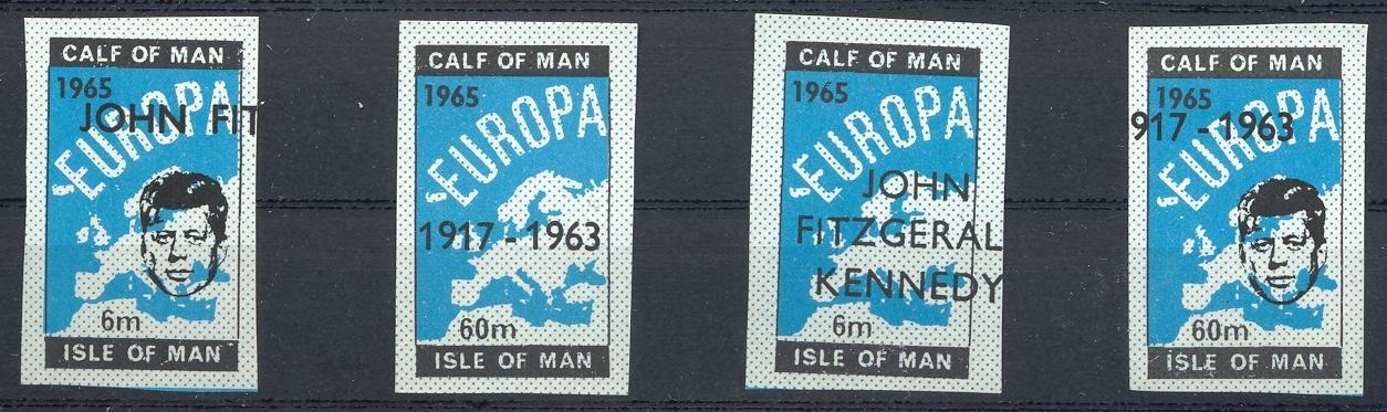 Stamps with Kennedy, Map from Isle of Man (image for product #032883)