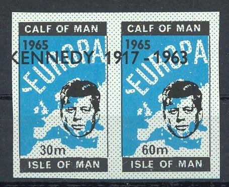 Stamps with Kennedy, Map from Isle of Man (image for product #032885)