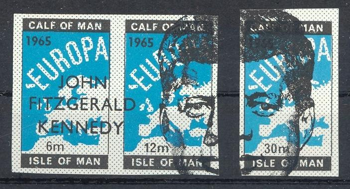 Stamps with Map, Kennedy from Isle of Man (image for product #032886)