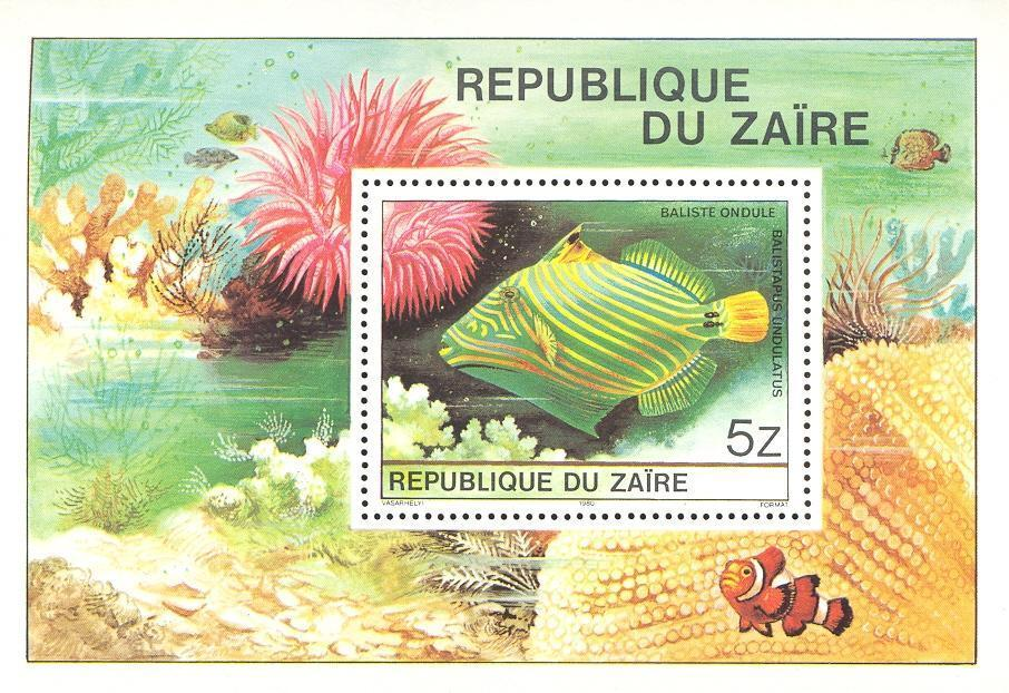 Stamps with Fish from Zaire (image for product #033111)