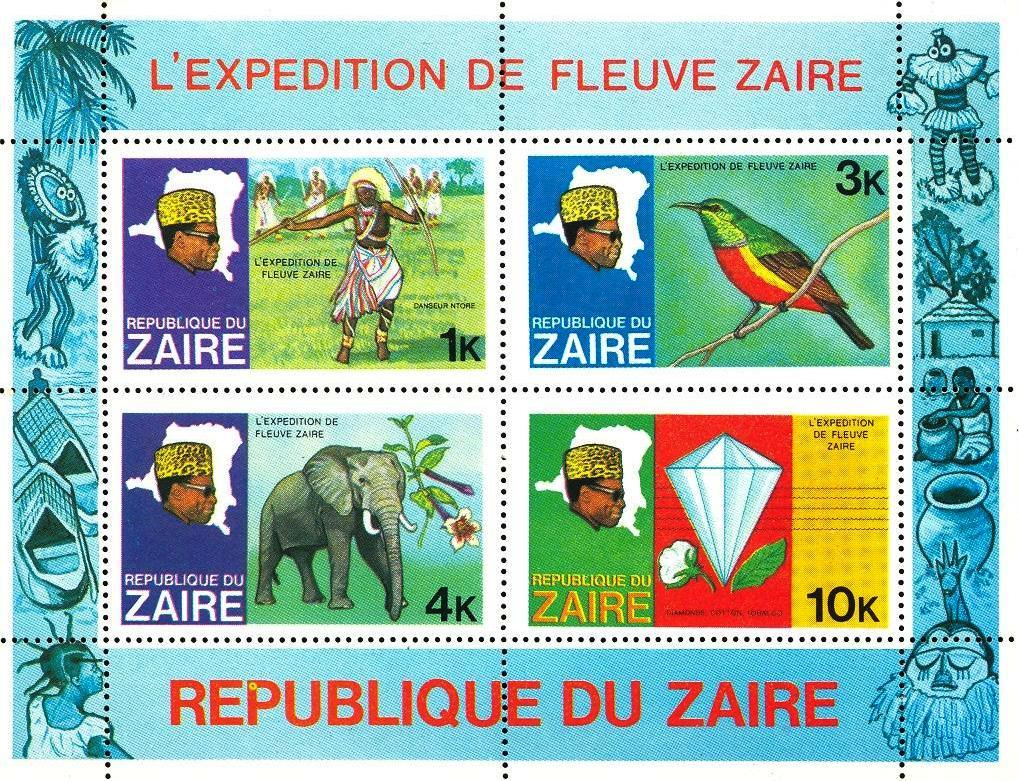 Stamps with Diamond, Elephants, Bird from Zaire (image for product #033119)