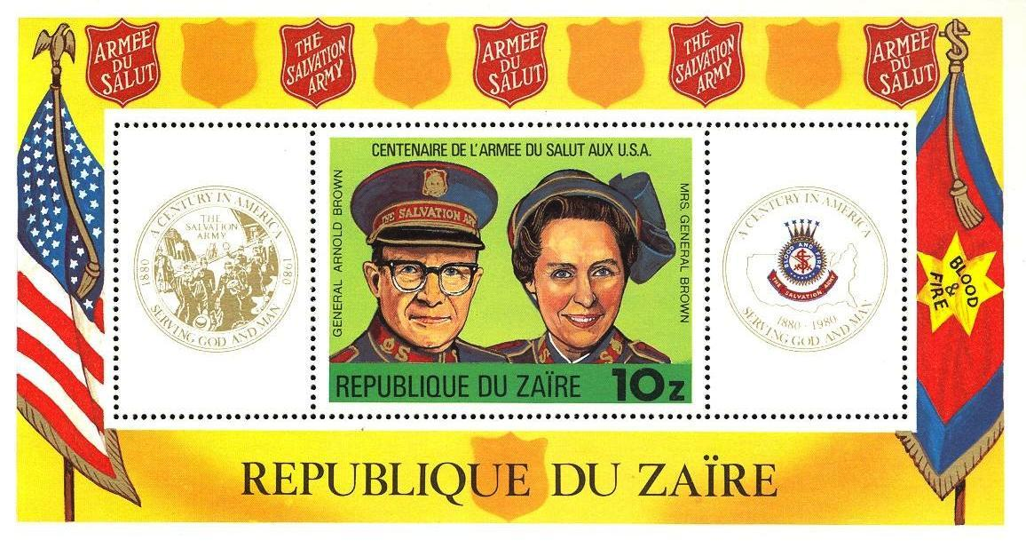 Stamps with Flag, Salvation Army from Zaire (image for product #033122)