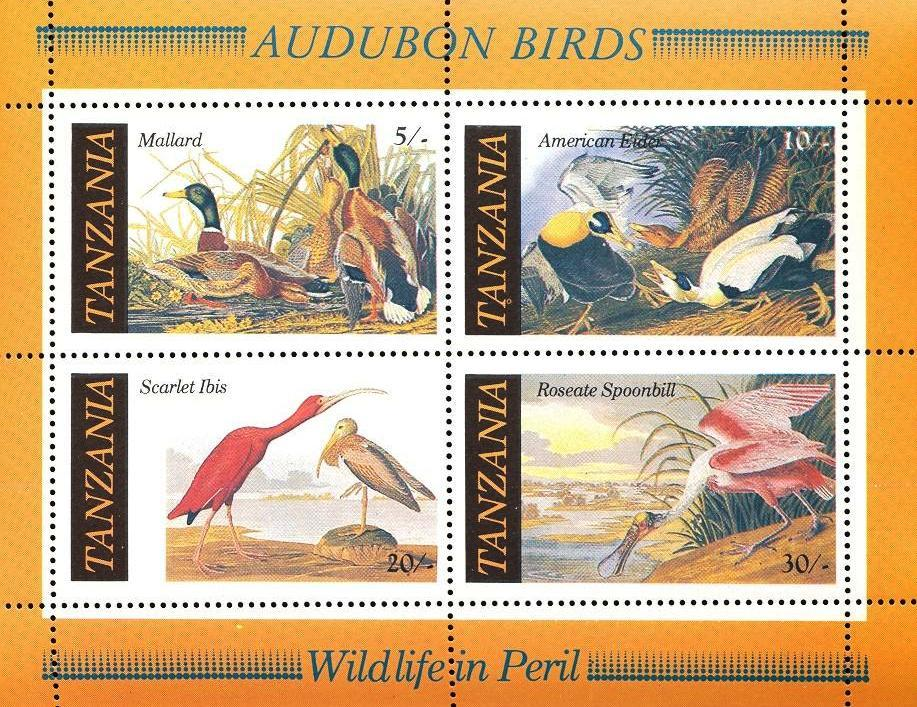 Stamps with Audubon, Bird from Tanzania (image for product #033130)