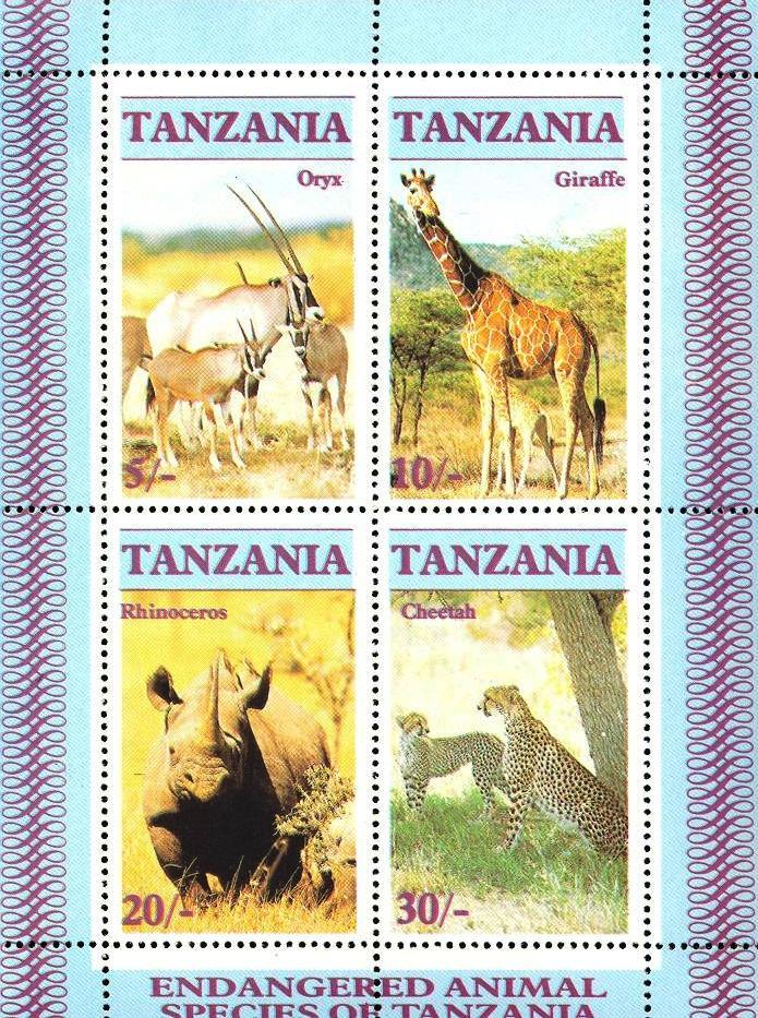 Stamps with Rhinoceros, Giraf, Cheetah from Tanzania (image for product #033132)