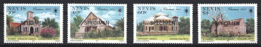 Stamps with Church from Nevis (image for product #033215)