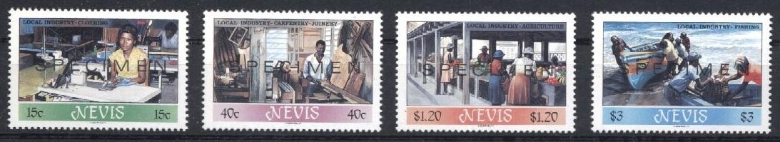 Stamps with Ship, Agriculture, Handicrafts, Clothing / Fashion from Nevis (image for product #033216)