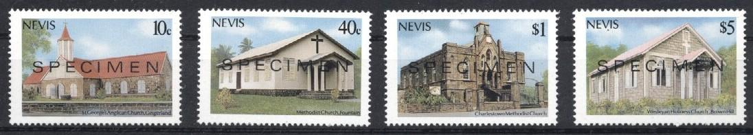 Stamps with Church from Nevis (image for product #033220)