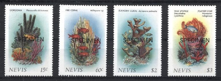 Stamps with Corals, Fish from Nevis (image for product #033221)