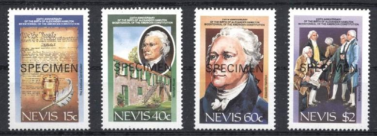 Stamps with Famous Persons, Treaty from Nevis (image for product #033222)
