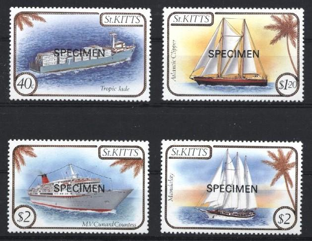 Stamps with Tree, Ship from St. Kitts & Nevis (image for product #033223)