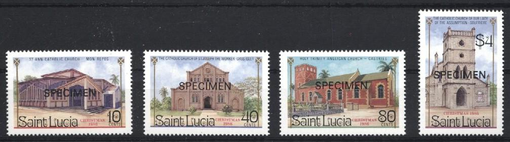 Stamps with Church from St. Lucia (image for product #033225)
