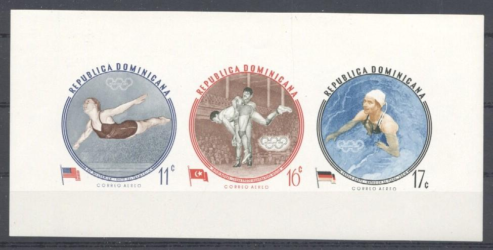 Stamps with Flag, Olympic Games, Wrestling from Dominica (image for product #033873)