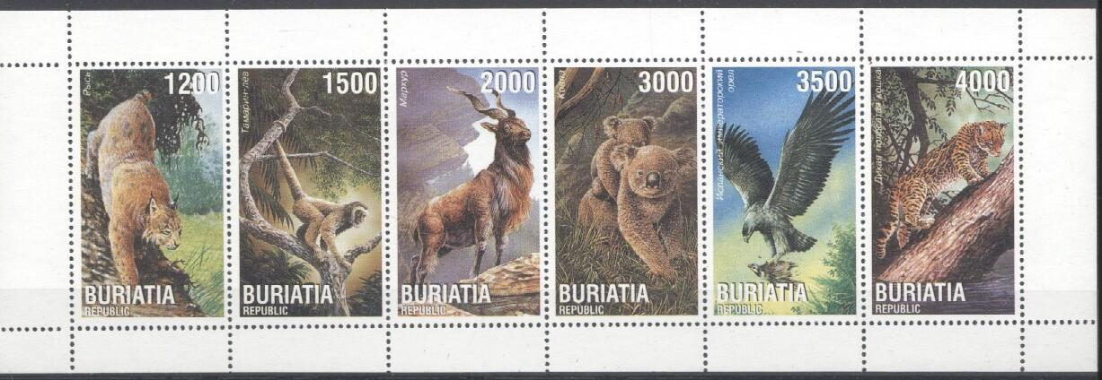 Stamps with Monkey, Panther, Koala, Eagle from Buriatia (non official) (image for product #033971)