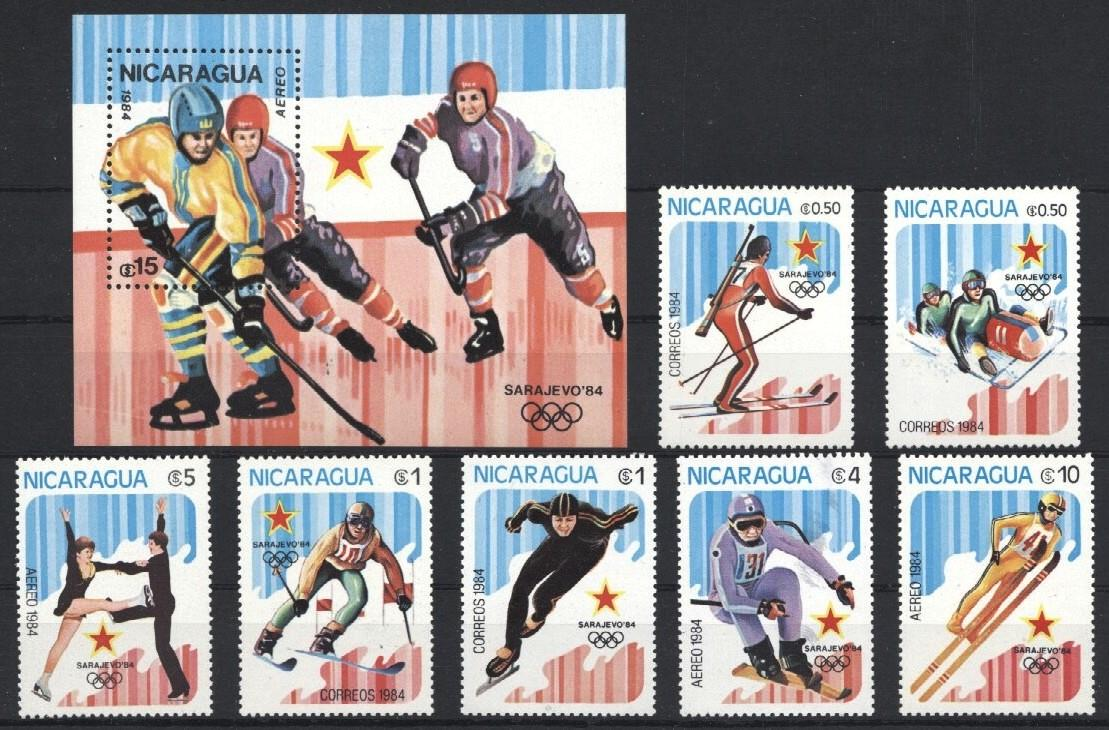 Stamps with Olympic Games, Figure Skating, Icehockey, Ski from Nicaragua (image for product #034079)