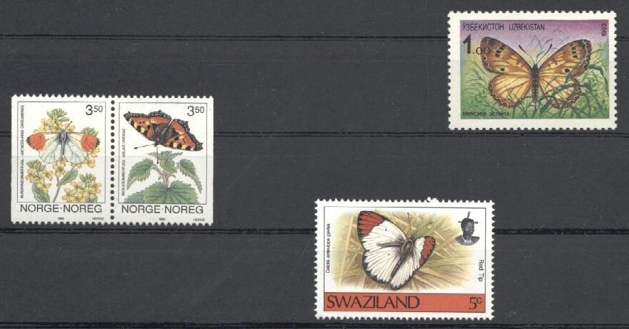 Stamps with Butterflies from World (image for product #034440)