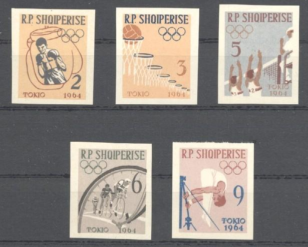 Stamps with Olympic Games, Bicycle, Volleyball, Gymnastics, Boxing, Basketball from Albania (image for product #034513)