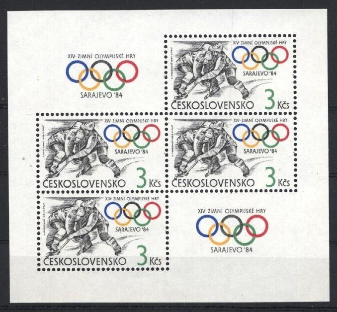 Stamps with Icehockey, Olympic Games from Czechoslovakia (image for product #034681)