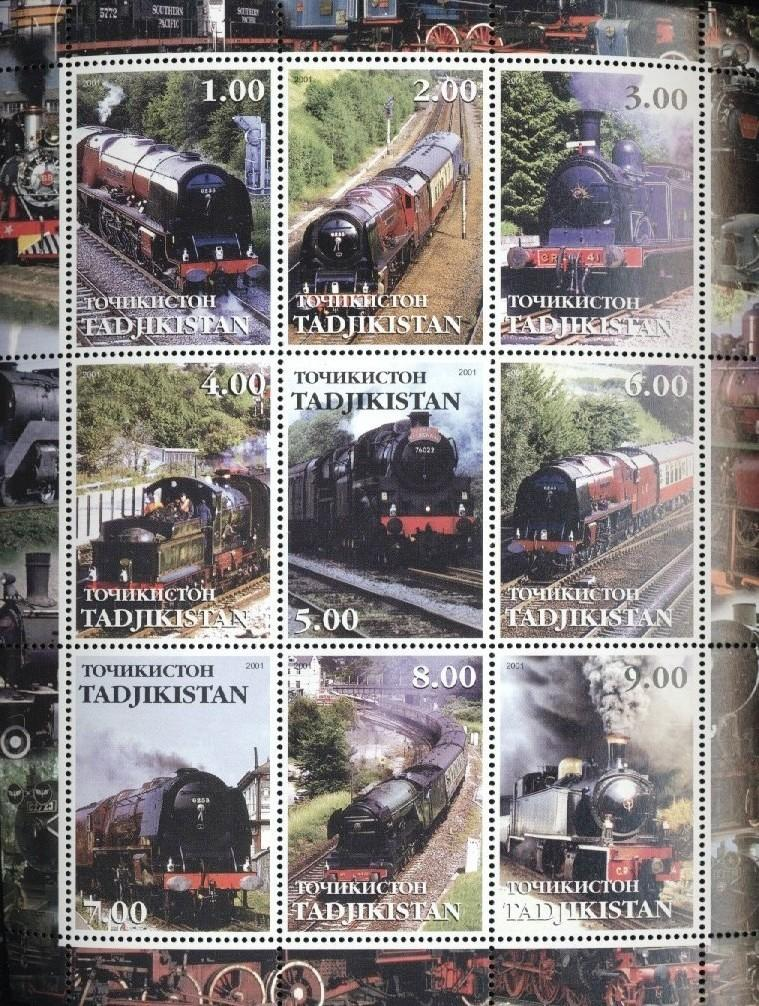 Stamps with Train / Railway from Tajikistan (non official) (image for product #034849)