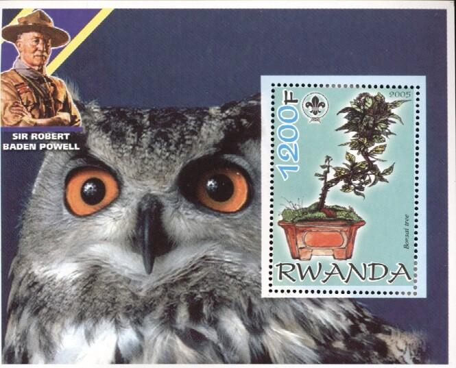 Stamps with Scouting, Owl, Bonsai, Baden Powell from Rwanda (non official) (image for product #035012)