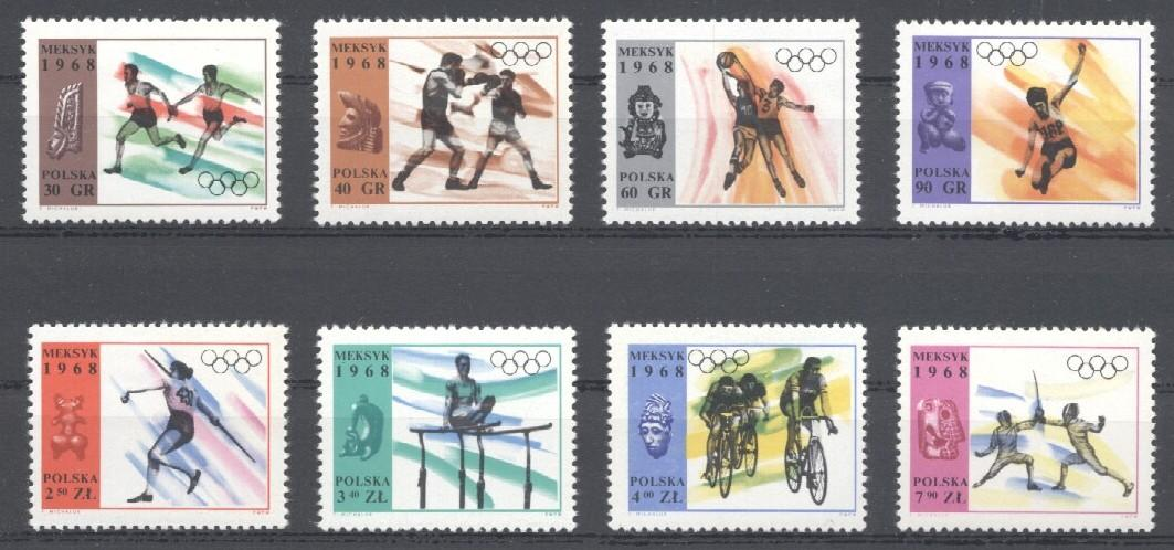 Stamps with Olympic Games, Bicycle, Fencing from Poland (image for product #035065)