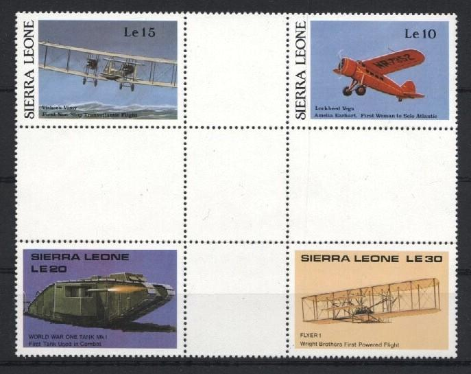Stamps with Aircraft, Tank from Sierra Leone (image for product #035172)