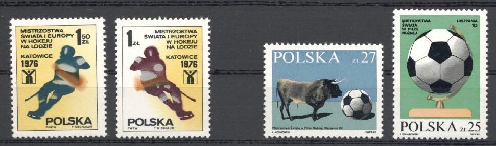 Stamps with Soccer, Icehockey, Bull from Poland (image for product #035315)