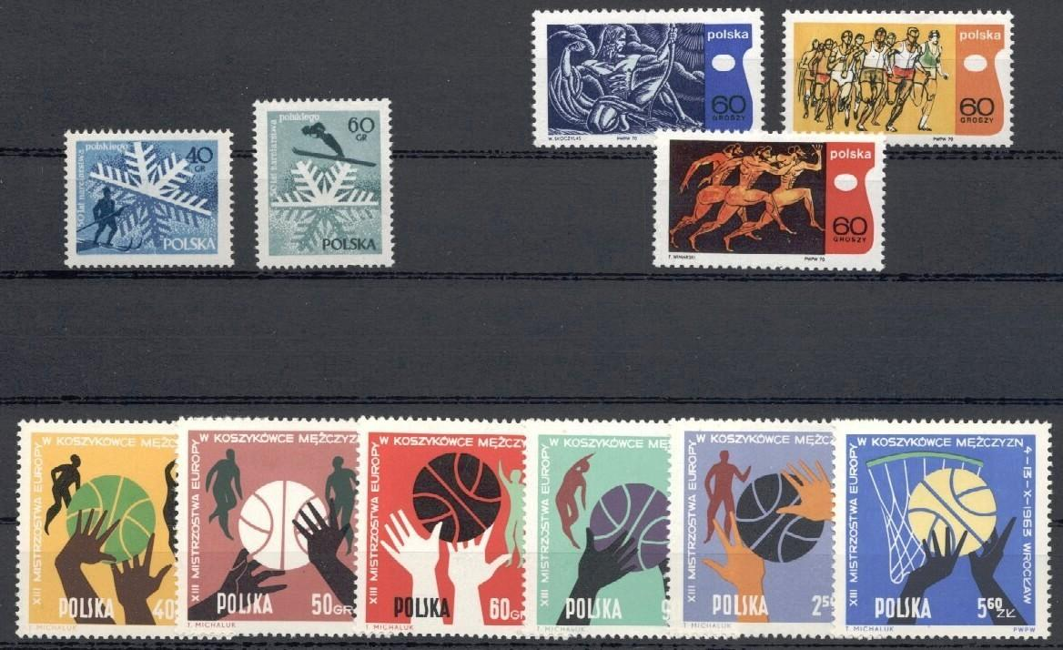 Stamps with Ski, Antiquity, Basketball from Poland (image for product #035316)